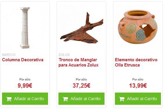 decoración para acuarios precios