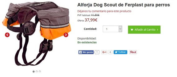 arneses deportivos para perros con alforjas