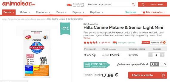 comida para perros con sobrepeso hills